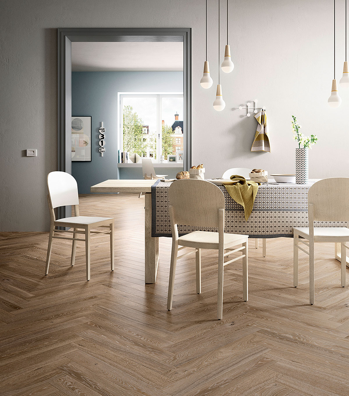Matte herringbone wood-effect tiles