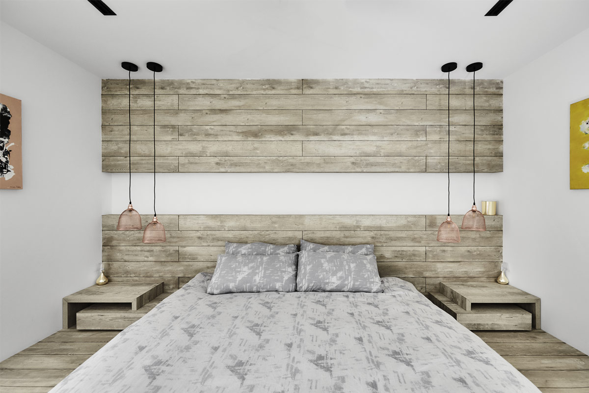Compromising a platform bed and a floor-to-ceiling headboard that's customised from earthy-toned laminates, the master boudoir exudes a cosy vibe. To break up the monotony, the headboard was split into two parts, with the niche encompassing cove lighting for ambience purposes.